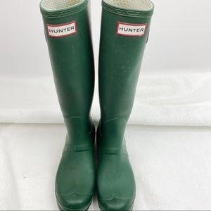 Hunter green rain boots